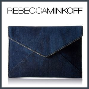 NWT Rebecca Minkoff Leo Clutch in Denim